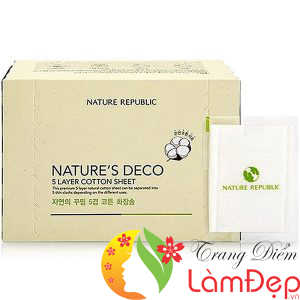 Bông Cotton 5 Lớp Nature Republic Natures Deco Natural 5-LAYER Cotton Wipe