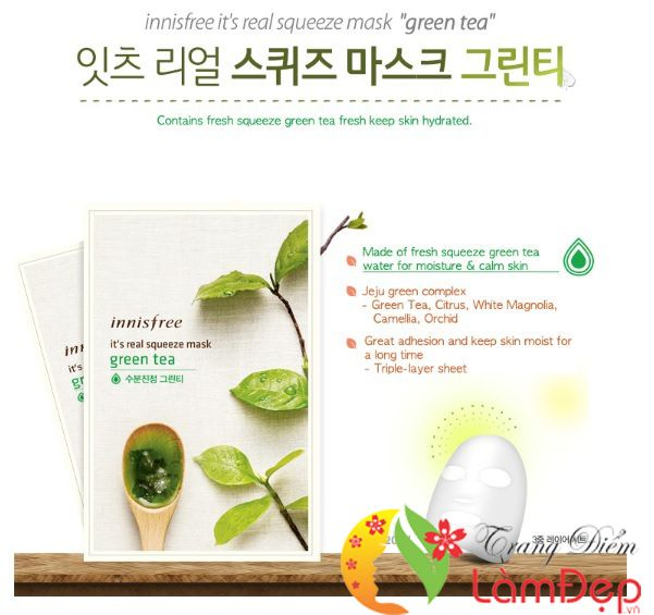 Mặt NạGiấyInnisfreeIt's Real Squeeze Mask Green Tea