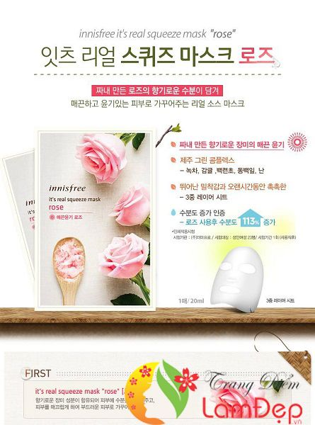 Mặt NạGiấyInnisfreeIt's Real Squeeze Mask Rose